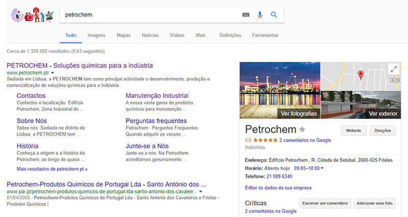 Presença online da Petrochem no Google My Business