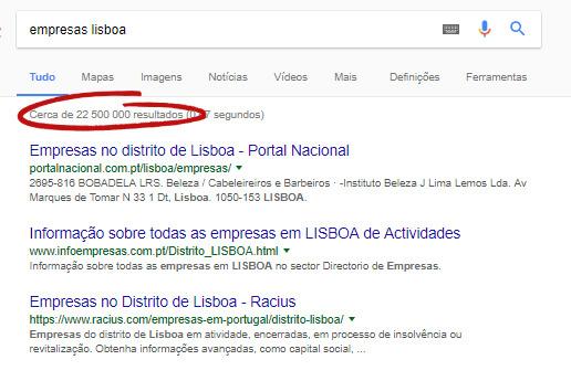 Listagem de empresas em Lisboa